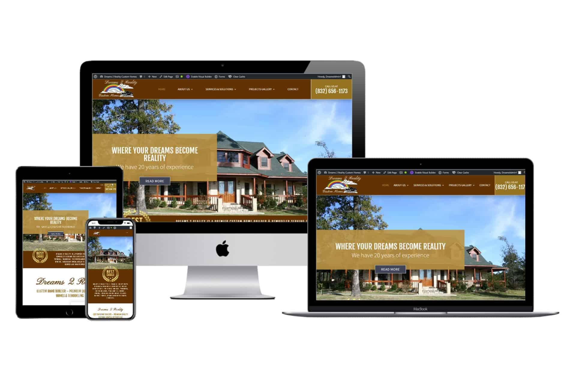 Dreams 2 Reality Custom Home Builder Website Design by WizardsWebs Design